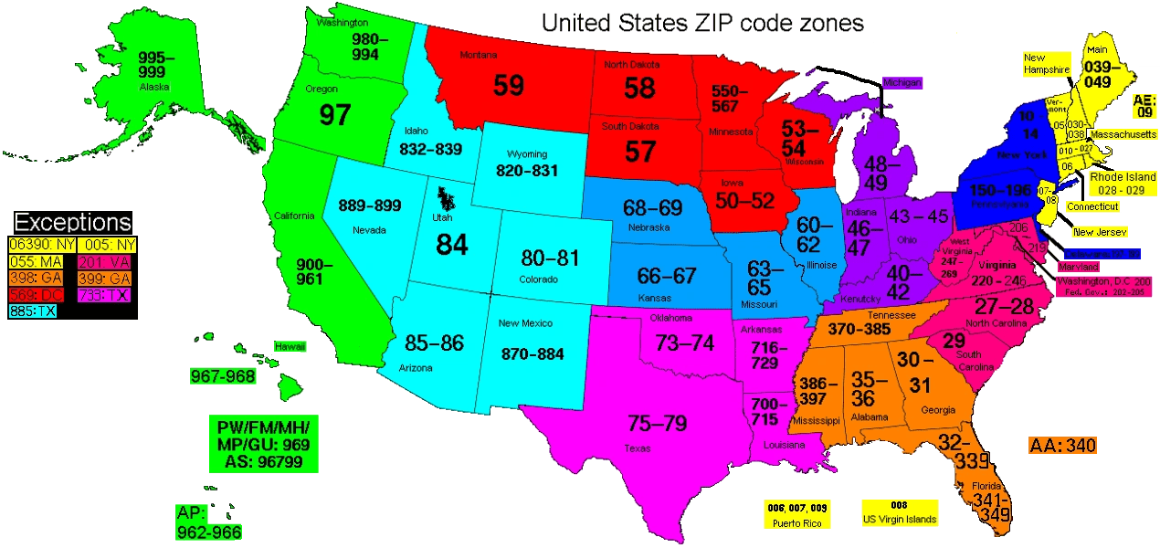 Image  US ZIP Code zonespng  Postal Codes Wiki  FANDOM