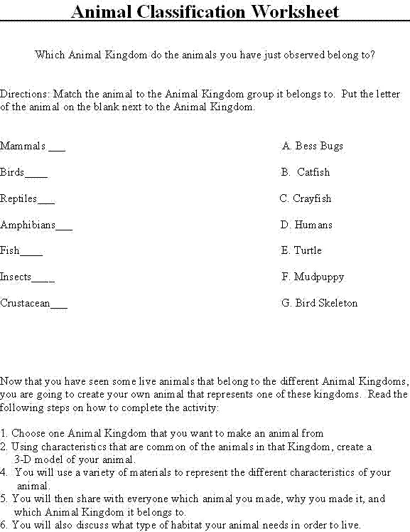 All Worksheets  Classification Worksheets