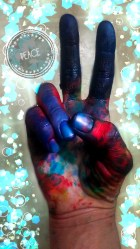 dyed hand