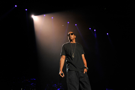 """Jay-Z wearing """"all black everything"""" at PSU. Photo by Andy Colwell."""