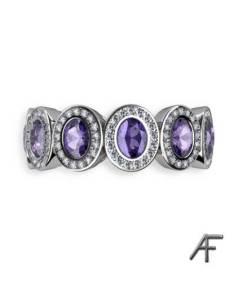 alliansring med tanzaniter och diamanter
