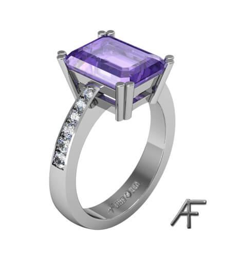 vitguldsring med ametist och diamanter