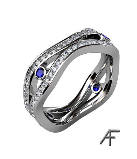 exklusiv alliansring med blå safirer och diamanter