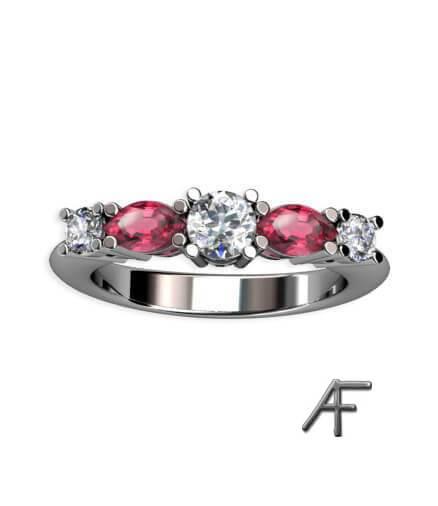 navette vitguldsring rosa spineller och diamanter