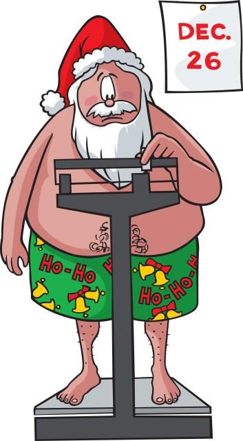 Papai Noel se pesando após o natal.