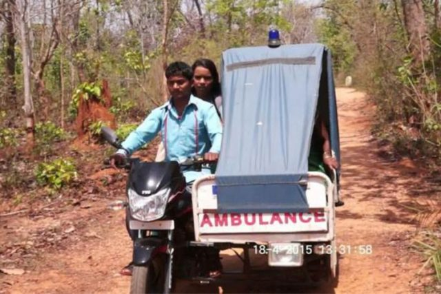 Help arriving in the form of a motorcycle ambulance.