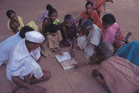 Mendha Lekha villagers discussing wildlife in their forests.