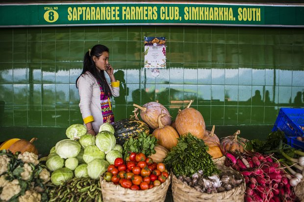 The produce looks excellent but not enough locals visit the organic market in Gangtok.