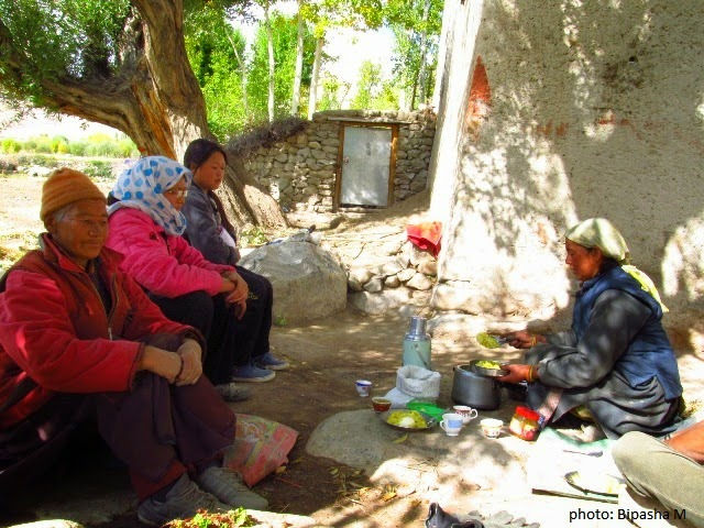 A Ladakhi woman in a village serving lunch to her neighbours who had come to help her with the harvest