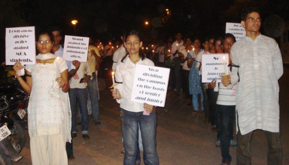 JNU Ragging issue MCA student candle light march
