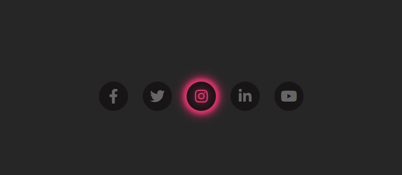 Glowing Social Media Icons Widget using only HTML & CSS
