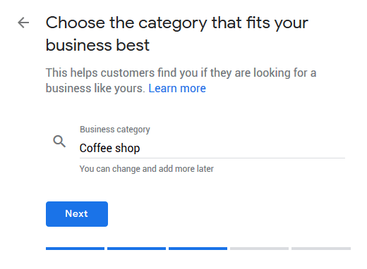 Google My Business Listing Step 5 - Category