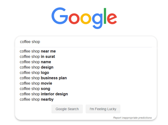 Google Search for Coffee Shop