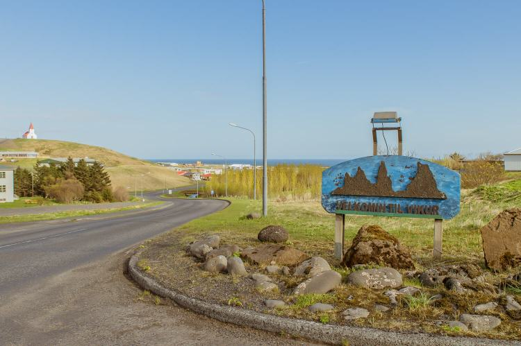 Sign and entrance into the town of Vik Iceland
