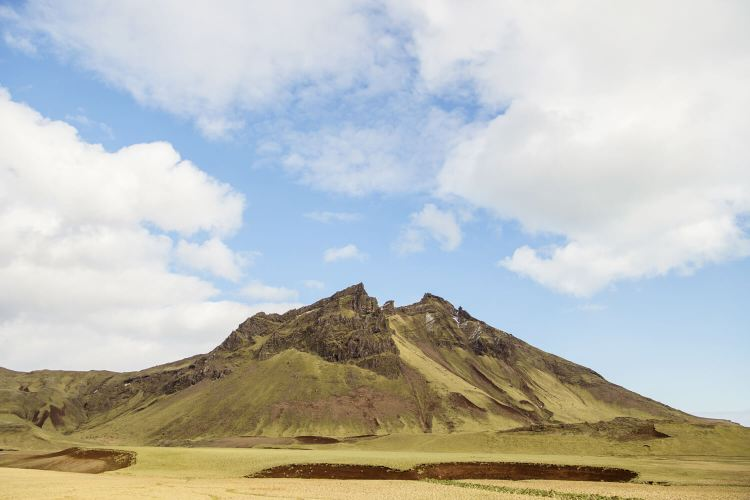 Mountain on the way into Vik Iceland town