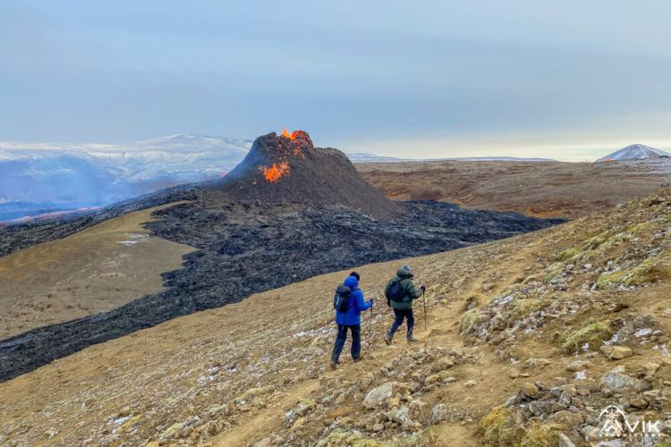 Hikers going to Iceland's Active Volcano