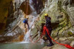 Canyoneering in Iceland through waterfall
