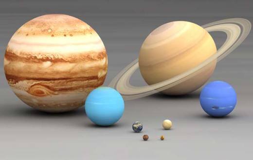 Zemlja u usporedbi sa drugim planetama u Sunčevom sistemu (peta planeta po veličini, treća po udaljenosti od Sunca)