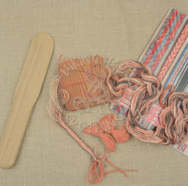Kit for tablet weave from Kaupang - apricot and grey