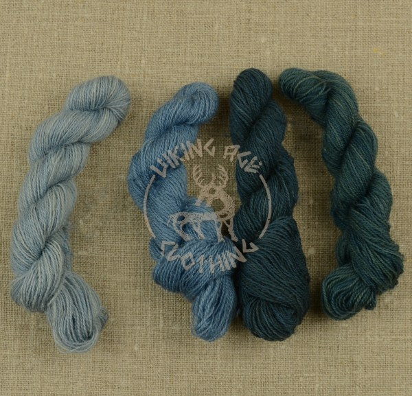Plant-dyed Mora redgarn - light woad blue, woad blue, dark blue and greenish blue