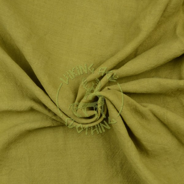 Plant-dyed wool muslin fabric - olive green