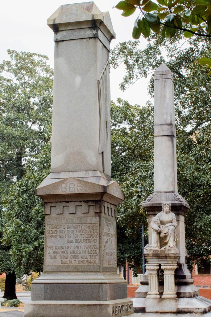 The base of the Nathan Bedford Forrest monument stays standing at Myrtle Hill Cemetery