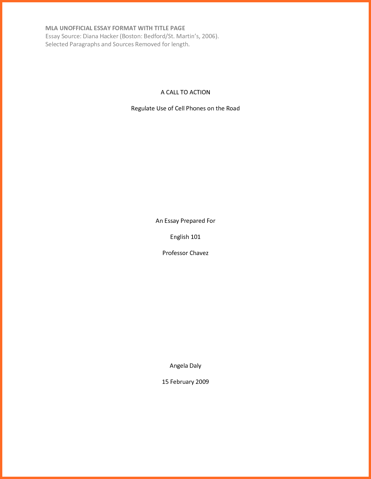 Mla Format Title Page