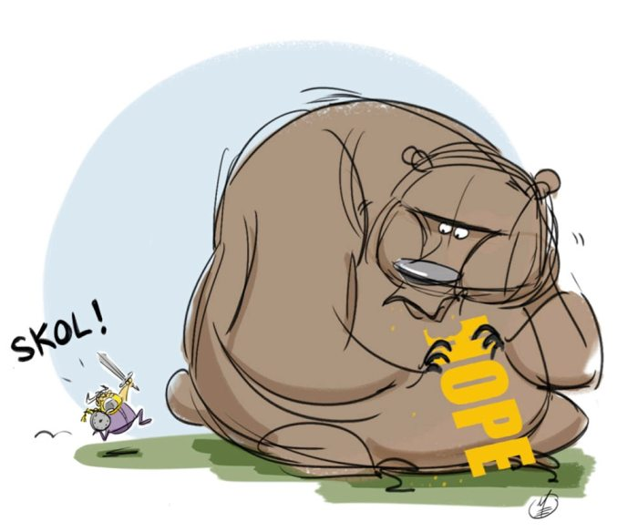 Matt Engstrom Vikings Illustrations Bears Eating Hope