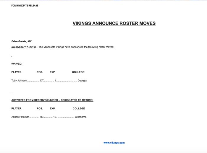 Vikings Official Press Release