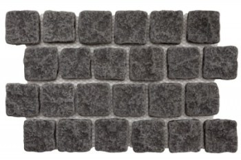 Basalt - Schwartz Hand Cut and Tumbled Cobble on mesh