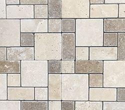 Nougat and Walnut Mini French Pattern Pattern Tumbled Travertine mosaic