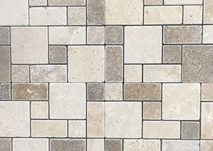 Nougat and Walnut Mini French Pattern Pattern Tumbled Travertine mosaic