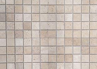 VSM10 Nougat square 48x48 tumbled travertine mosaic