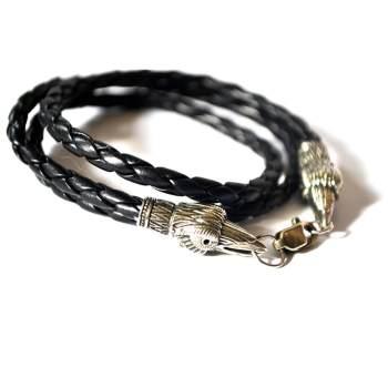 Фото кожаный браслет с воронами из нейзильбера