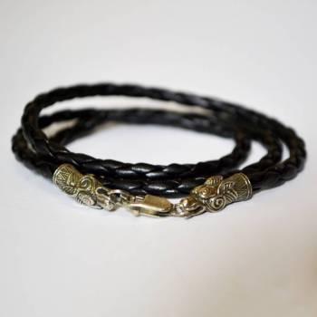 Фото многослойный кожаный браслет с драконом из нейзильбера