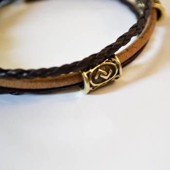 Фото многослойный кожаный браслет с бусинами