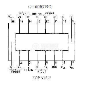 Integrated Circuit 4052 CMOS Dual 4-Channel Analog DIP16