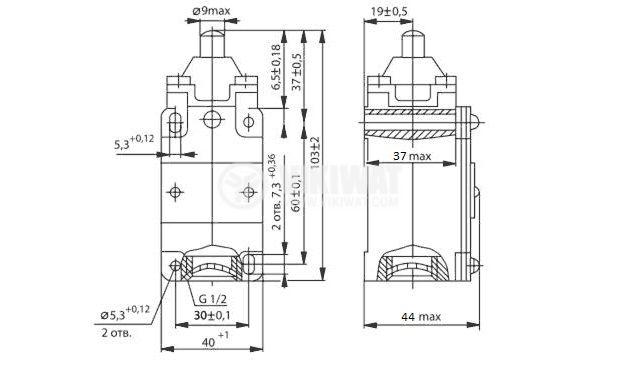 Limit Switch VP15-21A211-54U2.8 660VAC 440VDC plunger