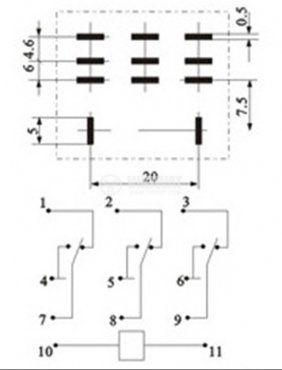 Реле електромагнитно LY3 бобина 12VDC 250V 10A vikiwat