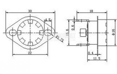 Bimetallic Thermostat KSD-333R 140°C NC 16A/250VAC bakelite