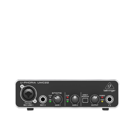 Behringer U-PHORIA UMC22 Audiophile 2x2 USB Audio Interface with MIDAS Mic Preamplifier 1