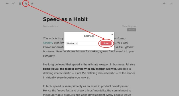 Pocket app uses a modal for editing tags, which makes your mouse cursor travel longer than required.