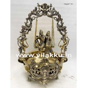 Brass Swing Radha Krishna Urli Antique Finish