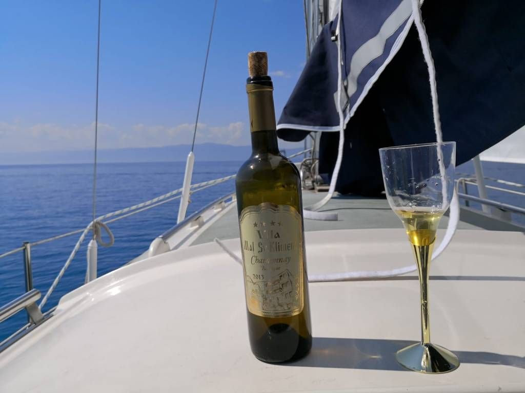 wine bottle and sailing