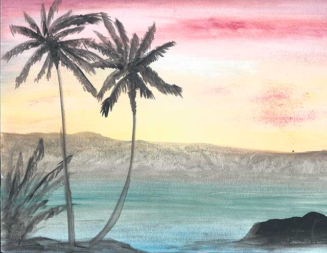 Image of a watercolor landscape by VGA teacher Kristi Roberts