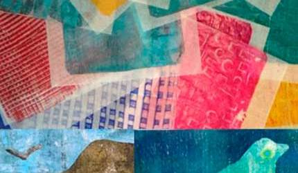 Image of a gelli-plate print and collage by VGA artist Elizabeth Higgins