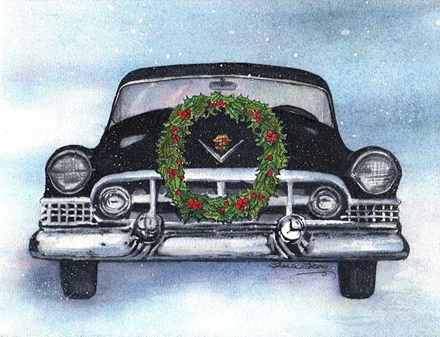 Image of a Caddie holiday card by Sharla Sevy