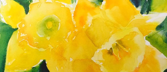 Image of a watercolor daffodil by artist Leslie Boyce