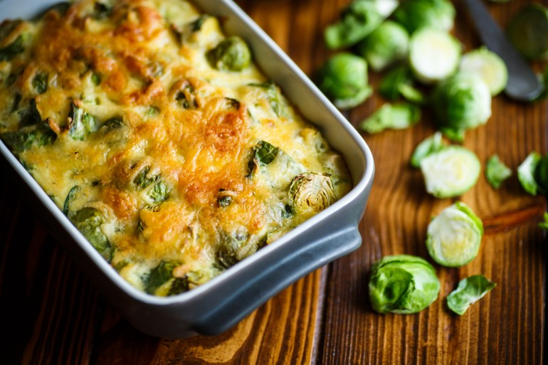 Brussels sprouts baked in sauce with cheese