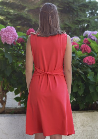 CORAL DRESS WITH PLEATS